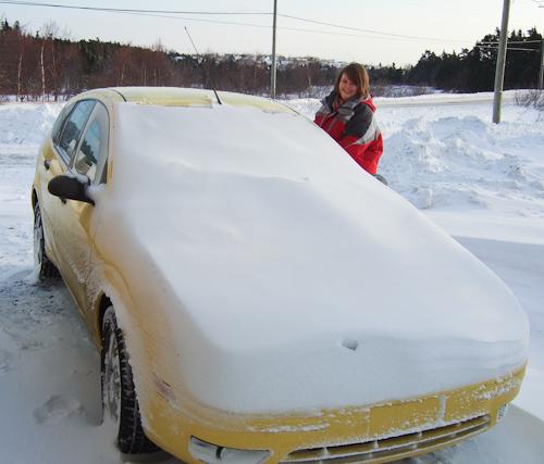 Fresh snow on the car - Torbay