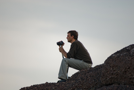 Rogier filming whales - Cape Spear