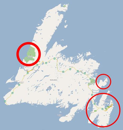 3 parts of Newfoundland