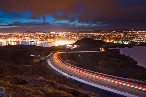 Light trails on Signal Hill - St. John's