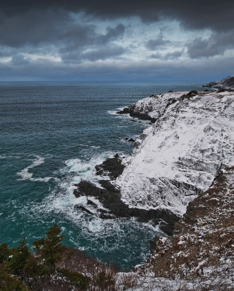 Snowy cliffs below Marine Drive - Middle Cove