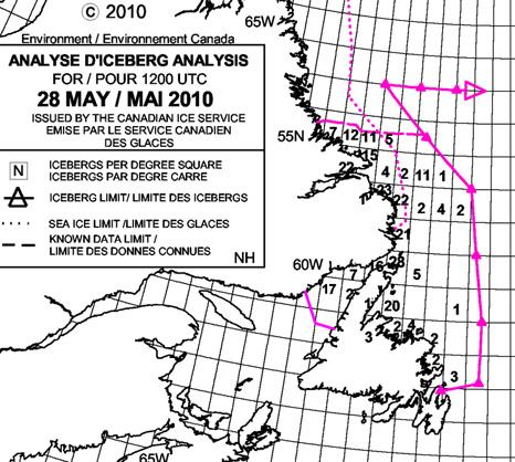 Iceberg locations - Environment Canada