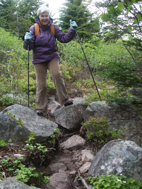 Mom at a small obstacle - Blackhead Path