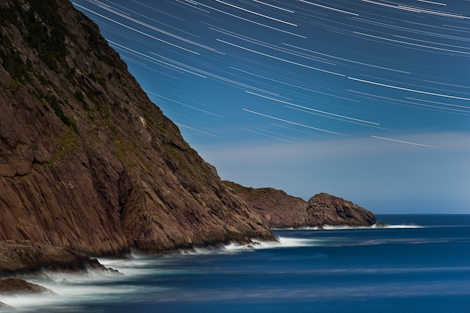 Star Trails over Torbay Point - Cobbler Path
