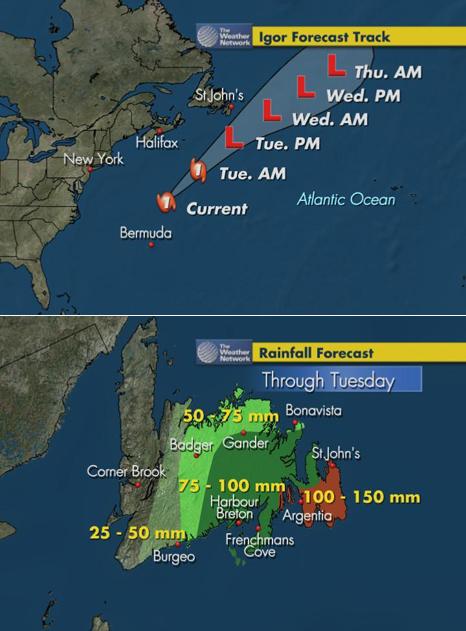 Hurricane Igor approaches Newfoundland - Map Credit: Weather Network