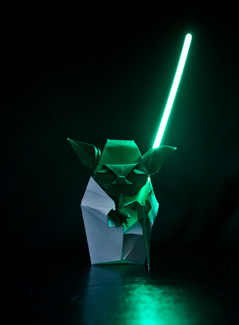 Origami Yoda with lightsaber