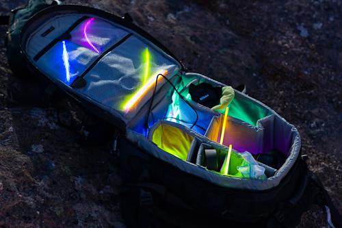 Glow sticks camera bag - Cape Spear Path