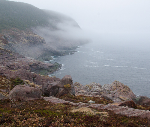 Fog climbing Red Cliff - Cobbler Path