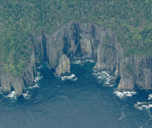 This is Drop Cove Rock, home to many seabirds.