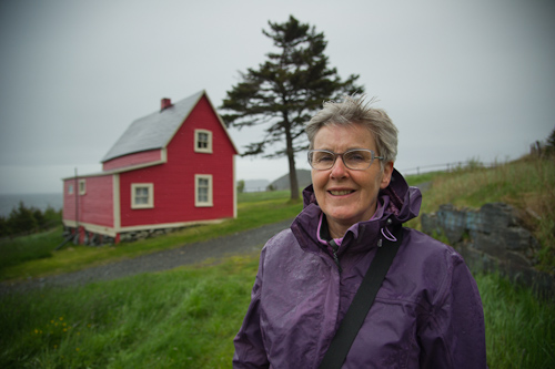 Mom at a famous red saltbox - Tors Cove