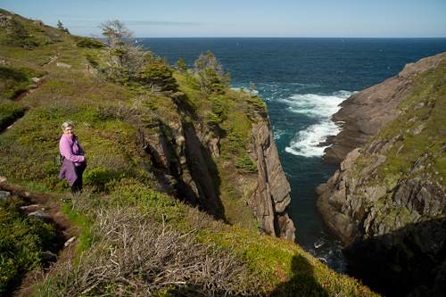 Mom at Empty Basket Cove - Cape Spear Path