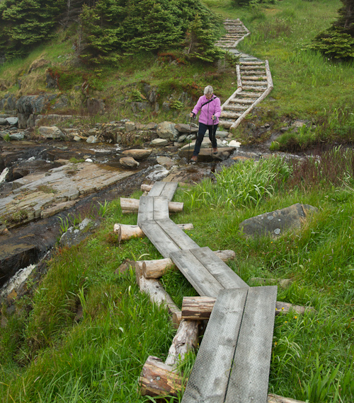 Mom crossing Houlihan's River - Silver Mine Head Path