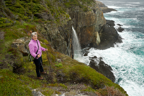 Mom at Dog's Hole Falls - Stiles Cove Path
