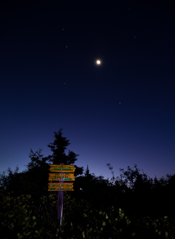 The moon, mars, and surrounding stars - Cobbler Path