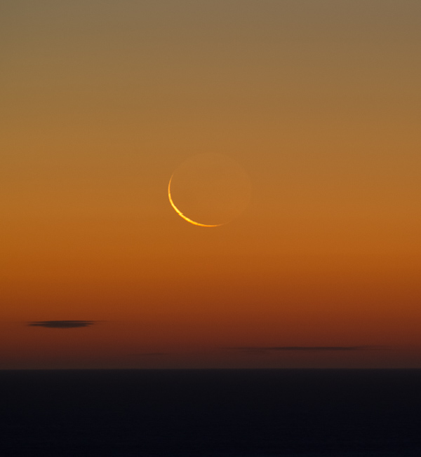 Thin crescent over the Atlantic - Stiles Cove Path