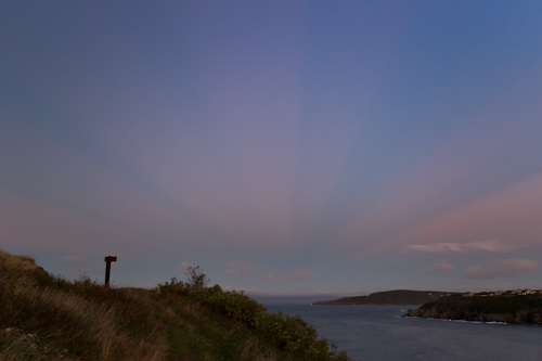 Anti-crepuscular rays over Torbay - Father Troy's Trail