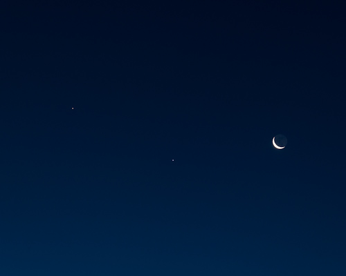 Saturn, Spica, Moon