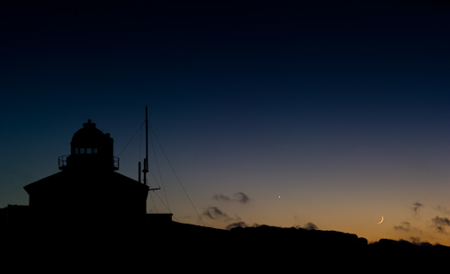 Venus and crescent Moon at the lighthouse - Cape Spear