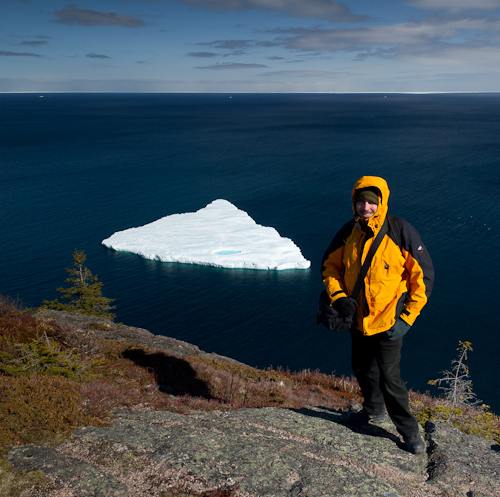 The Dorito-shaped iceberg, and me all bundled up - Deadman's Bay Path