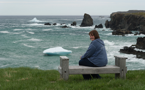 Marije and some small icebergs - Cape Bonavista