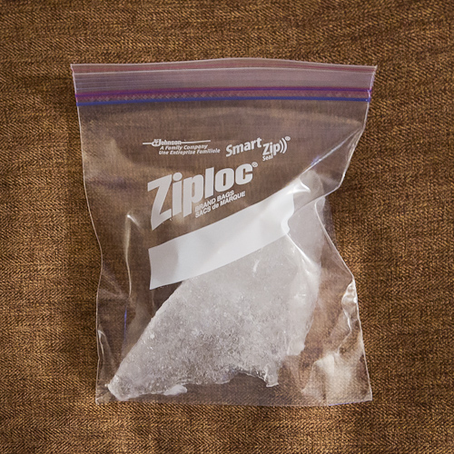 Iceberg ice in a ziploc bag