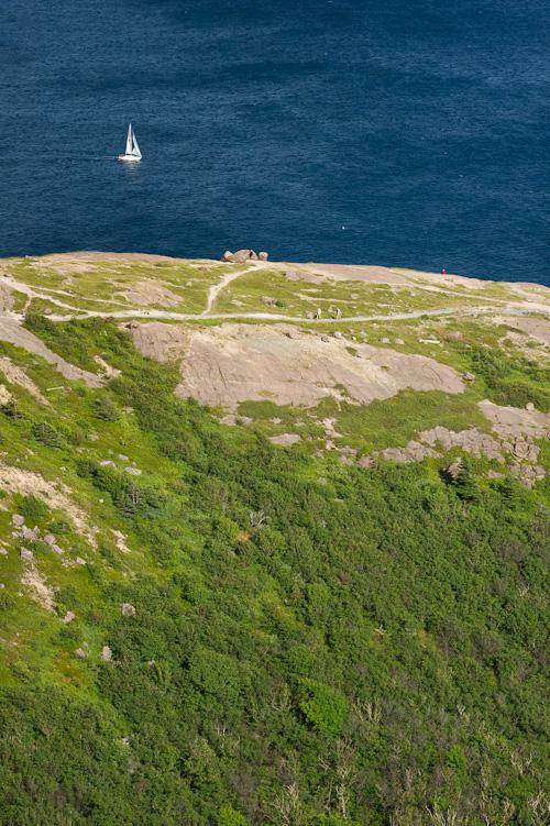 A boat sails past North Head Trail - Signal Hill