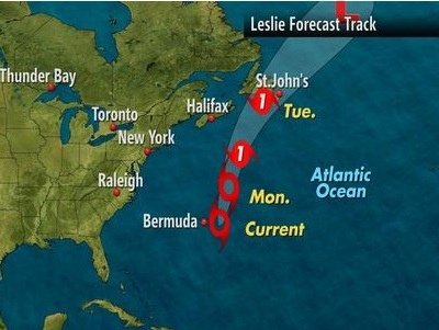 Is Leslie coming to Newfoundland?