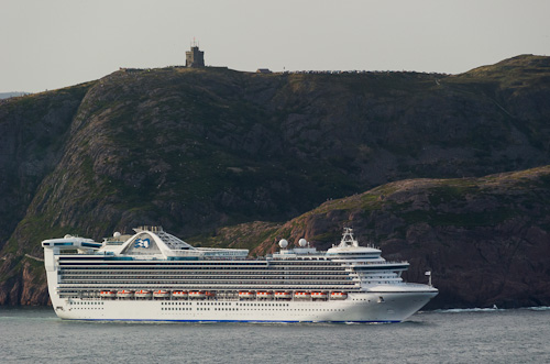 Caribbean Princess just outside the Narrows - seen from Blackhead Path