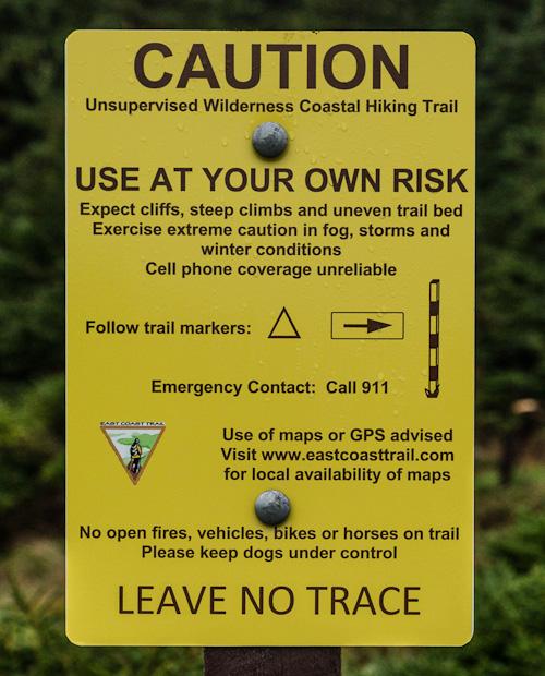 Caution sign at the trailhead - Silver Mine Head Path