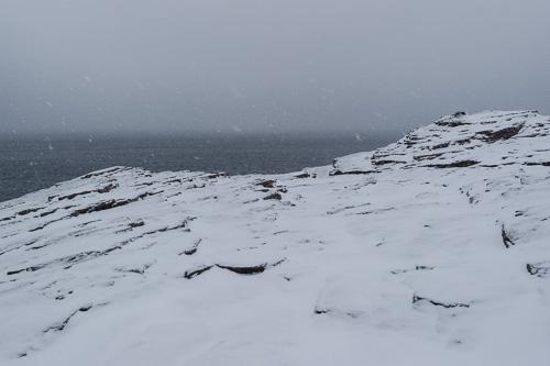 Snowy cliffs & foggy flurries - Stiles Cove Path