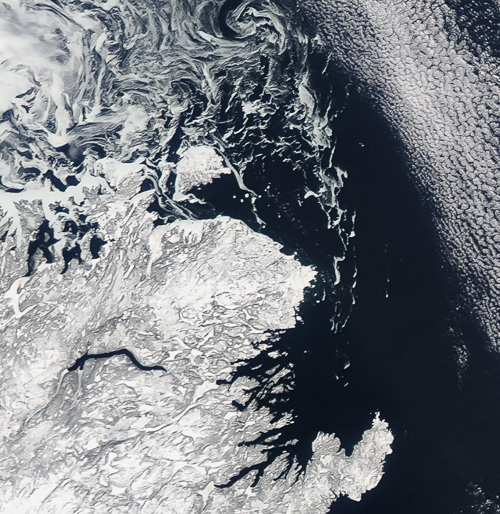 Sea ice around Fogo, and moving further south - Image Credit: NASA/GSFC, Rapid Response