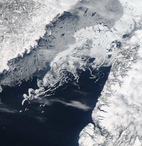 Sea ice in the Gulf of St. Lawrence - Image Credit: NASA/GSFC, Rapid Response