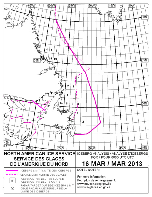 Iceberg Chart for March 16, 2013 - Ice Service