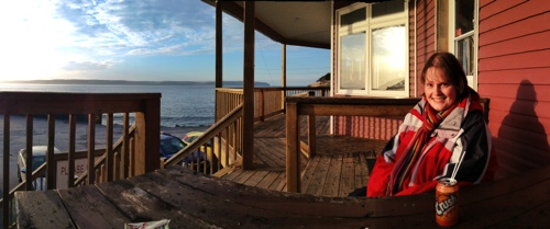 Marije enjoys the sunset - St. Philip's