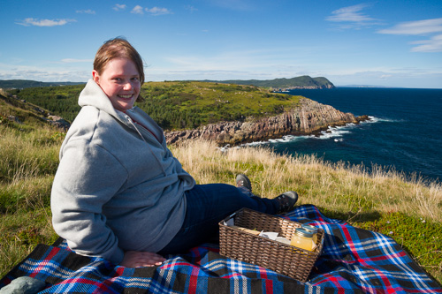 Marije and our picnic - Lighthouse Picnics, Ferryland
