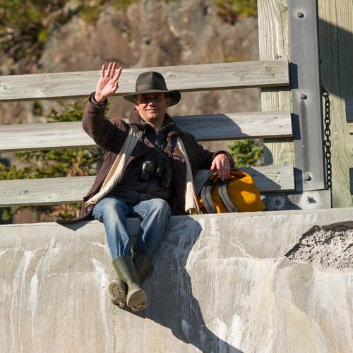 Rogier on the suspension bridge - La Manche