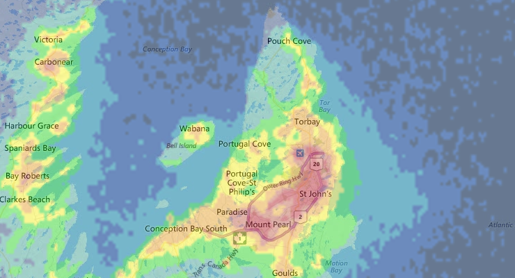 Newfoundland Light Pollution map | newfoundsander