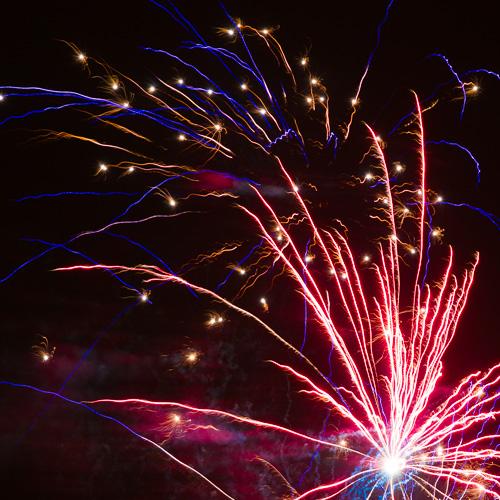 Blue & Red fireworks - Torbay