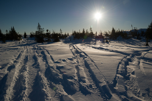 Lots of snowmobile tracks - Overland route to the Spout