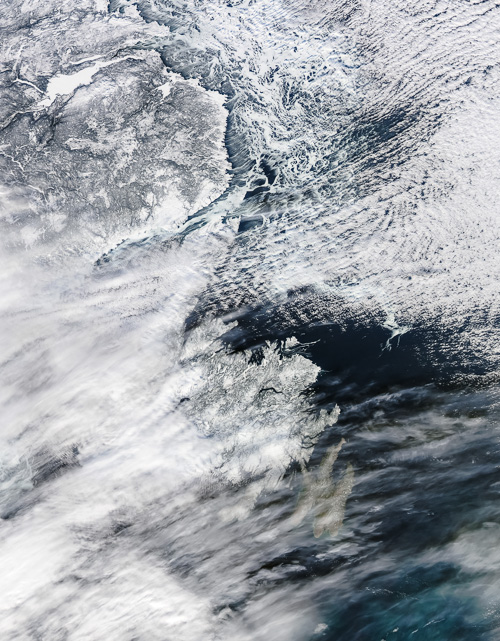 Today's satellite image of Newfoundland – Image Credit: NASA/GSFC, Rapid Response