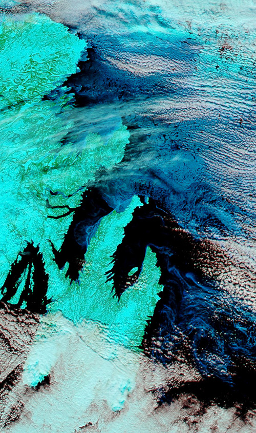 Today's satellite image of Newfoundland – Image Credit: NASA/GSFC, Rapid Response