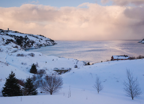 Snowy bay, sunset clouds - Torbay