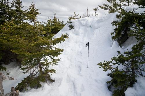 Big snowdrift on the trail - Cobbler Path