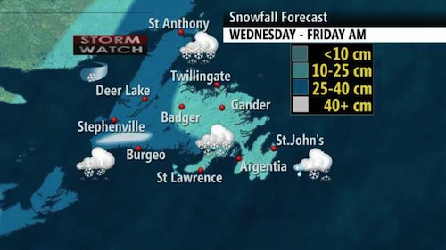 Snowfall forecast - Credit: Weather Network