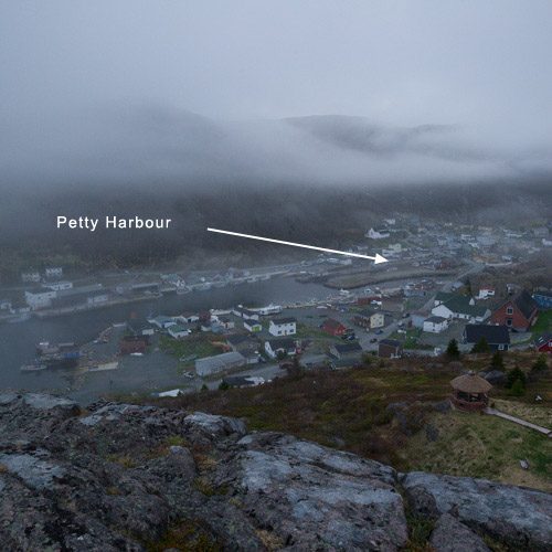 #3: Petty Harbour in the fog, seen from The Point