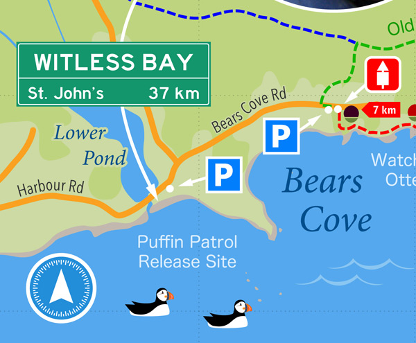 Release site in Witless Bay - map snippet from the East Coast Trail Guide