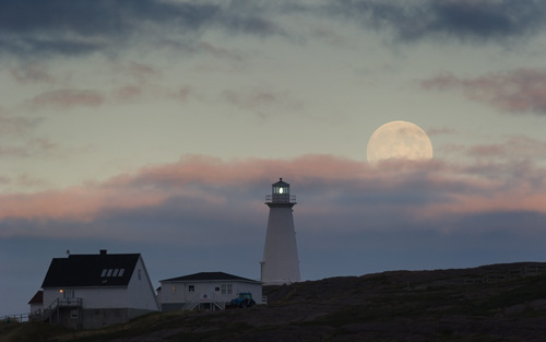 Harvest Moon over the light tower - Cape Spear / Blackhead Path