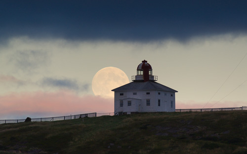 Harvest Moon over the lighthouse - Cape Spear / Blackhead Path