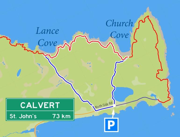 Calvert > Church Cove > Lance Cove > Calvert