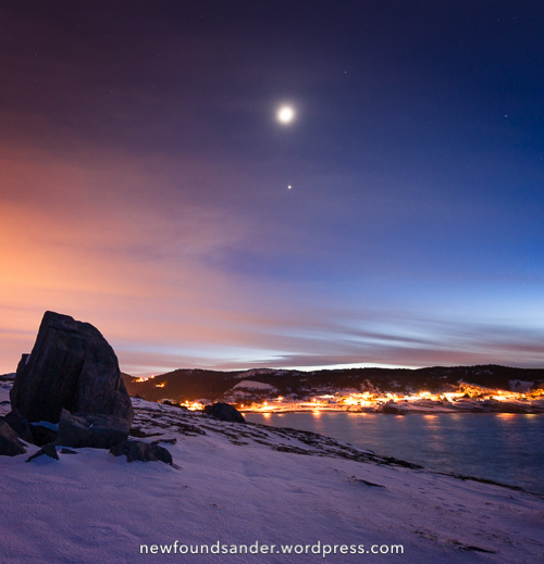 Moon and Jupiter above Flatrock - Father Troy's Trail